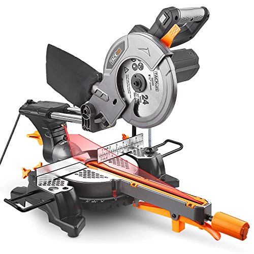 Mitre Saw, TACKLIFE Power Tools Sliding Mitre Saw with Multi-Material Cutting, 300mm Slide, 1500W 4500RPM, Laser Guide, 45° Bevel, 45° Versatility Mitre, 200mm Extension Bars, Dust Bag - PMS01X
