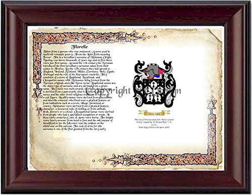 Florelle Coat of Arms/ Family Crest on Fine Paper and Family History