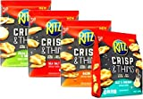 Ritz CRISP & THINS, Ultimate Variety 4-PACK + FREE Set of Bag Clips, 1 bag each of CREAM CHEESE & ONION, SEA SALT, BACON, SALT & VINEGAR.