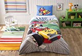 LaModaHome 3 Pcs Twin and Single Bedroom Bedding Soft Colored 100% Cotton Licensed Single Quilt Duvet Cover Set Let'S Roll Movie Series Child Cartoon Mickey Mouse Single Bed with Fitted Sheet