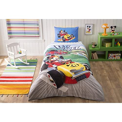 Cheap LaModaHome 3 Pcs Bedroom Soft Colored 100% Cotton Licensed Single Quilt Duvet Cover Set Let'S Roll Movie Series Child Cartoon Mickey Mouse Single Bed with Fitted Sheet for sale