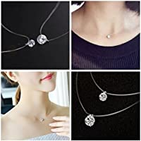 Invisible Transparent Fishing Line Zircon Pendant Necklace Fashion Jewelry by Siam panva (6mm)
