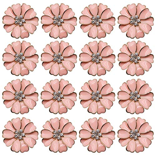 JETEHO 20 Pcs Pink Metal Rhinestone Flower Flatback Button Embellishments for Crafts Scrapbooking ()