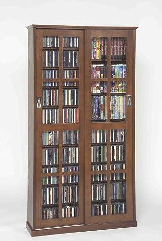 Leslie Dame MS-700W Mission Multimedia DVD/CD Storage Cabinet with Sliding Glass Doors, Walnut (Cd Cabinet Mission)