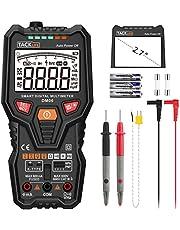 Multimeter Digital TACKLIFE DM06 Autorange 6000 Counts True RMS Messen von AC DC Spannung Strom Widerstand Temperatur NPN PNP Transistor und Live Line Test mit Messleitung Kabel und Taschenlampe
