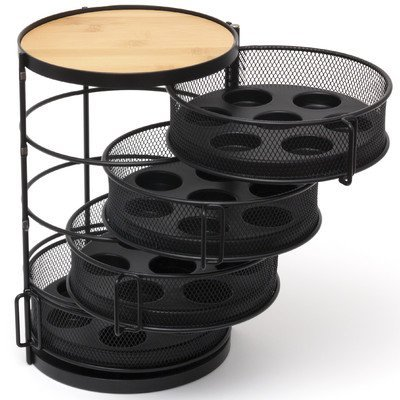 Lipper International 8674 Round Coffee Pod Tower With Swing-Out Drawers and Trays, 4-Tier, 28-Pod Capacity, Black by Lipper International