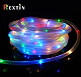 Rextin 39FT 100LED Solar Rope Tube Lights string RGB IP68 Waterproof for Christmas Holiday Wedding Party Decoration Garden Patio Fence Path Landscape (RGB)
