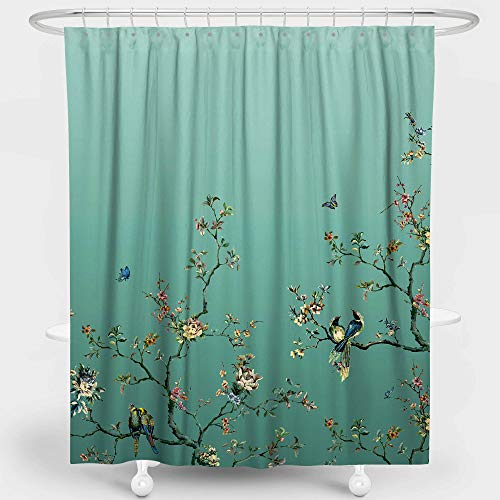 LIVETTY Artistic Shower Curtains Bathroom Teal Wildlife Floral Flower Classical Trees Birds Butterfly Bath Decor Polyester Water Proof 72x72 Inch Hooks Included
