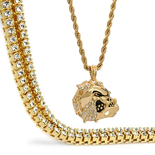 Jewel Town Hip Hop Men 14k Gold Plated Jewelry Bulldog Head Cz Bling Pendant Iced Out 18