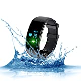 Naxxlabs Smart Fitness Tracker - Heart Rate Monitor Wristband Water Bluetooth Resistance Watch Activity Step Tracker for Android and IOS Smartphones (Black)