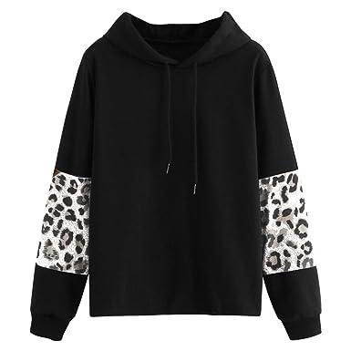 Women Hoodies & Sweatshirts,Womens Long Sleeve Hoodie Color Block Pullover Leopard Sweatshirt Blouse Tops