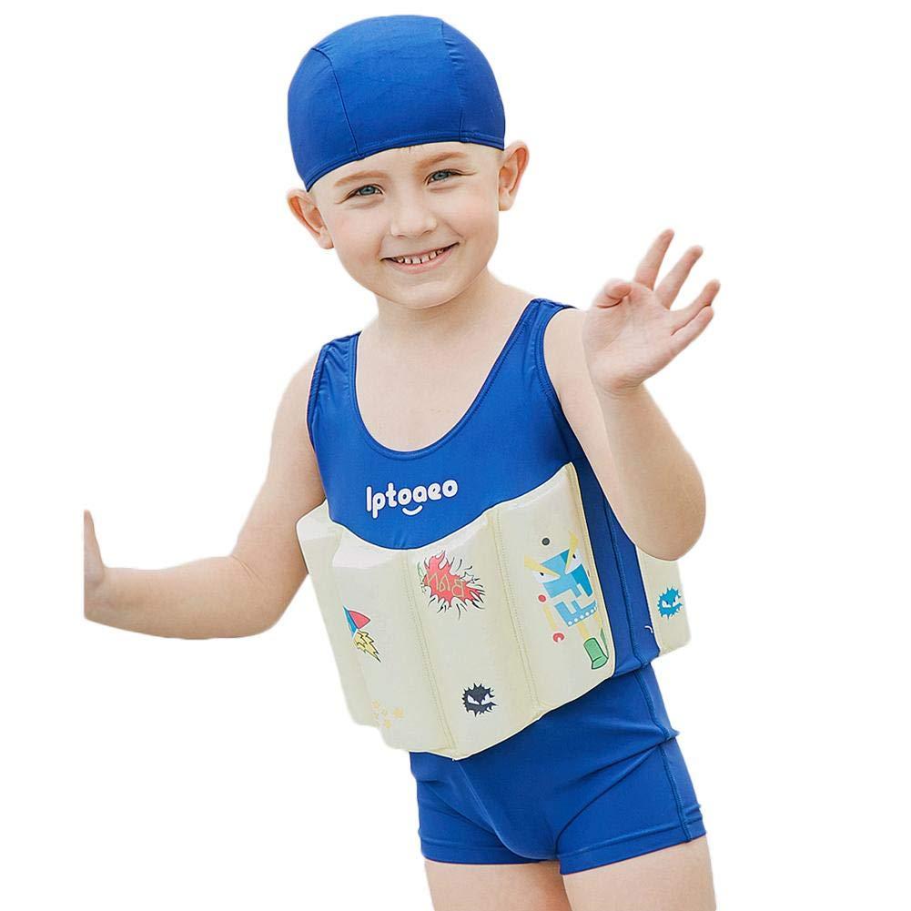 xiaokkiss ベビーフロートスーツ 子供用 フローティング水着 ウェットスーツ ジャケット フローティング水着 浮力スティック付き 男の子 女の子用 90CM xiaokkiss-01 90CM Ntl005 B07Q12SKPM