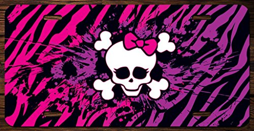 KCD Cute Zebra Skull and Cross Bones Vanity Front License Plate Tag Printed Full Color KCFP051