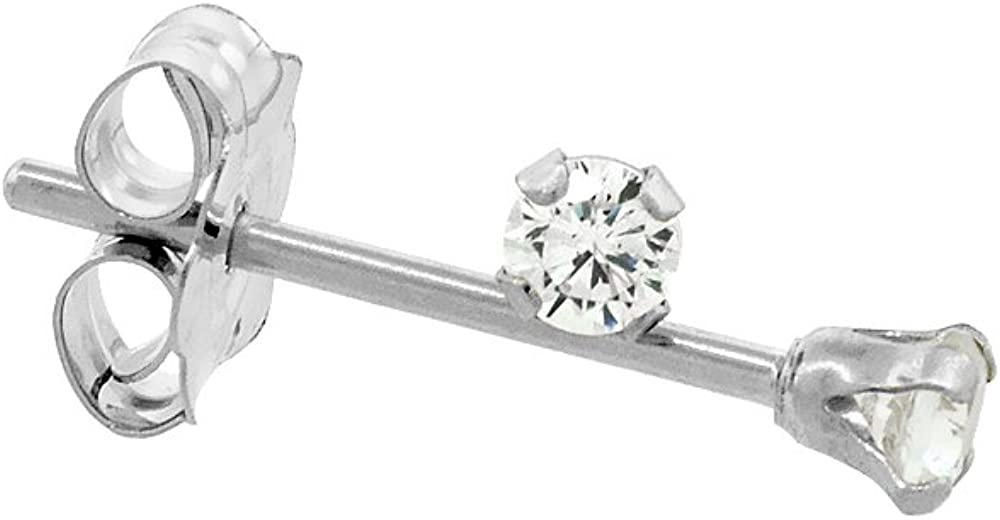 Tiny 14K White Gold 2mm Cubic Zirconia Stud Earrings Cartilage Nose Studs Women 4 prong 0.06 ct/pr