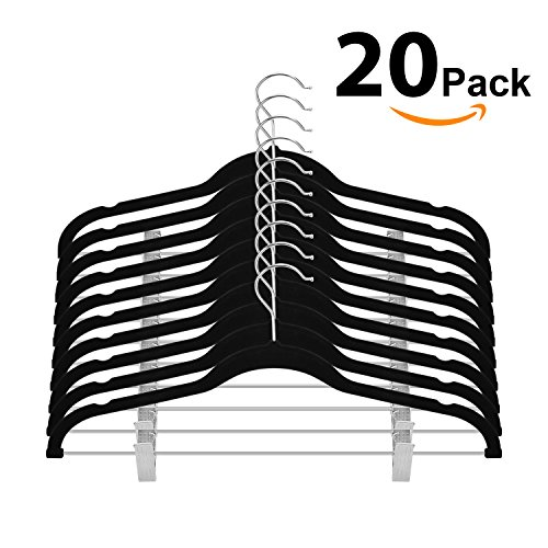OIKA Premium Velvet Clothes Hangers with Clips for Pant or Non Slip Skirt Hanger-360 Degree Swivel Hook-20 Pack (Black)