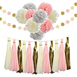 Tissue Pom Poms,Farway Pink Gold Party Decoration Paper Paper Flower Bachelorette Party Decorations Kit 23 Pcs Party Supplies for Wedding Birthday Festival Baby Shower Christmas Decor