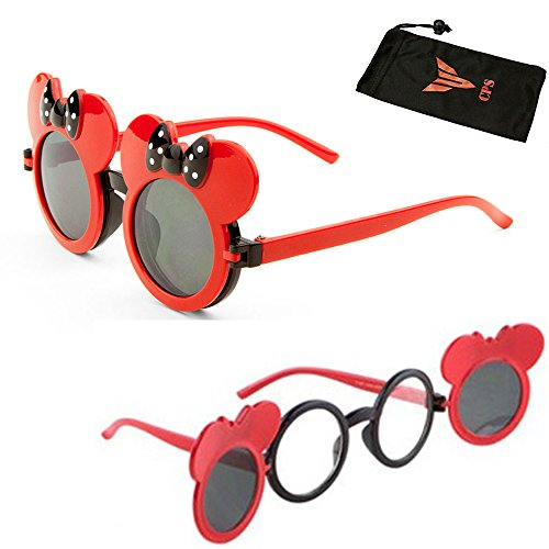 Kid Colored Mouse Ears Flip Up Sunglasses Clear Blk Lens Mickey Minnie -
