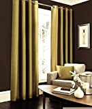 IHF 2 Panels Faux Silk Dupioni Solid Textured Lined Grommet Eyelet Ring Top Curtains Drapes (Gold, 68″ x 120″) Review