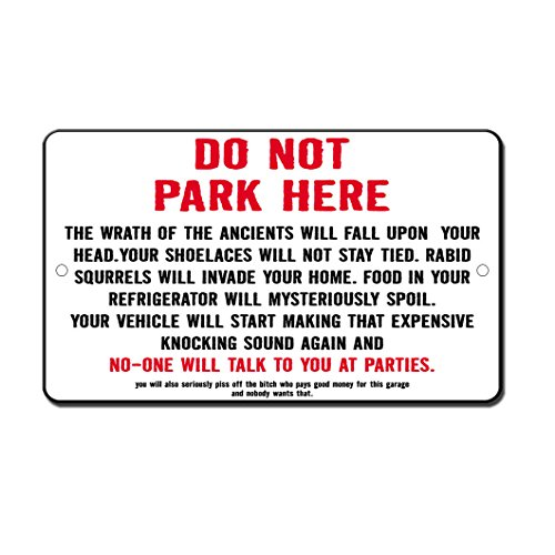 (Fastasticdeals No Parking Curse Novelty Funny Metal Sign 8 in x 12 in)