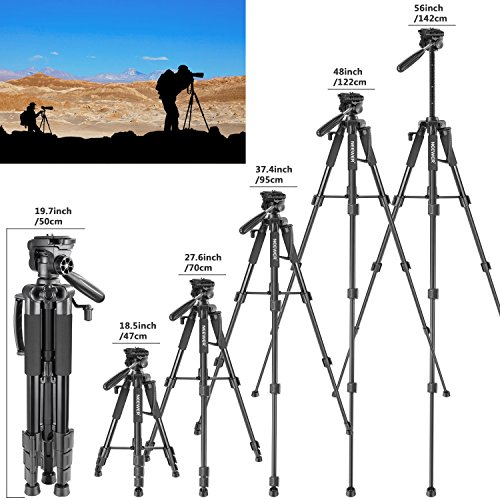 Neewer Travel Aluminum Camera Tripod 56 inches with 3-Way Swivel Pan Head and Smartphone Holder, Compatible with Canon Nikon DSLR Camera, DV Video Camcorder, iPhone and Android Smartphone (Black) by Neewer (Image #3)
