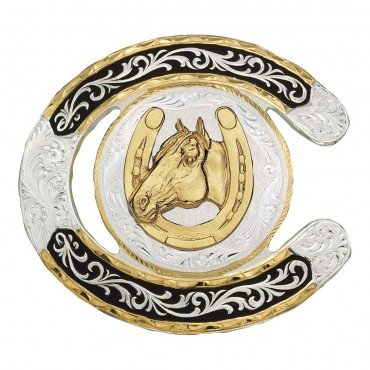 Montana Silversmiths Men's Horseshoe Western Belt Buckle Multi One Size
