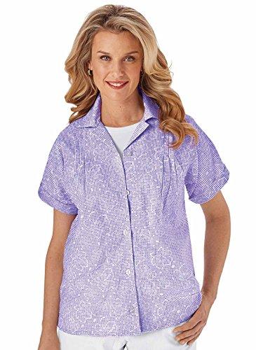 Turquoise Seersucker - Carol Wright Gifts Seersucker Blouse, Purple, Size Large