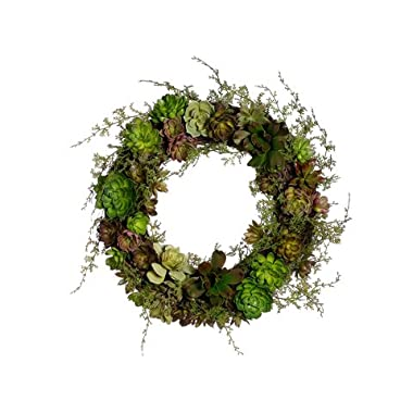 18  Succulent Wreath Green Burgundy (Pack of 2)