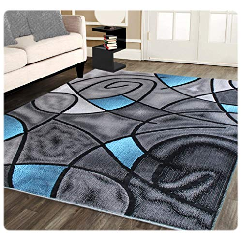 - Masada Rugs, Modern Contemporary Area Rug, Blue Grey Black (8 Feet X 10 Feet)