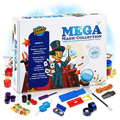 Mega Magic Tricks Set for Kids. Perform Hundreds Today's Most Exciting Tricks. Magic Kit with Instructional DVD -