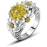 Sumanee 3.5ct Citrine Daisy 925 Silver Women Beauty Jewelry Wedding Gift Ring Size 6-10 (7)