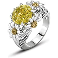 Promsup3.5ct Citrine Daisy 925 Silver Women Beauty Jewelry Wedding Gift Ring Size 6-10 (8)