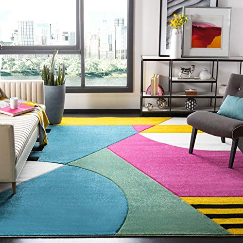 Safavieh Hollywood Collection HLW706C Peacock Blue and Fuchsia Area Rug, 4 x 6