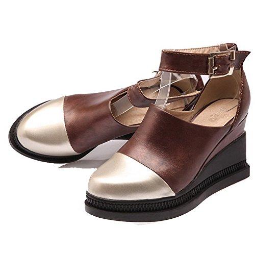 Couleurs Chaussures Femme Rond Brun Cuir Boucle à VogueZone009 Talon PU Mélangées Haut Légeres WvnU0Wwqgd