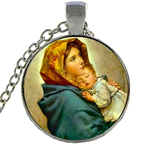 (Blazing Autumn Mary Mother of Baby Jesus Necklace Blessed Virgin Pendant Fashion Jewelry Glass Dome Necklace Silver Chain (Mother's Love Silver))
