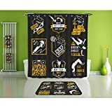 Bathroom Suits/16Piece Bathroom Set/Bathroom Accessory Set,1 Shower Curtains&1 Floor Mats&1 Bath Towels &1 Towel And 12 High-grade hook Decorate the bathroom(set of breakdance bboy silhoue)