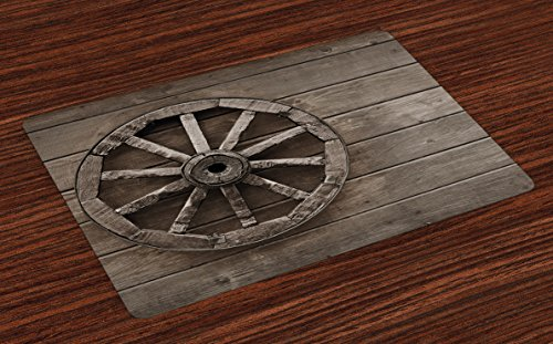 (Ambesonne Barn Wood Wagon Wheel Place Mats Set of 4, Antique Aged Carriage Vehicle Wheel on The Wall of Barn Grunge Western, Washable Fabric Placemats for Dining Table, Standard Size, Umber)