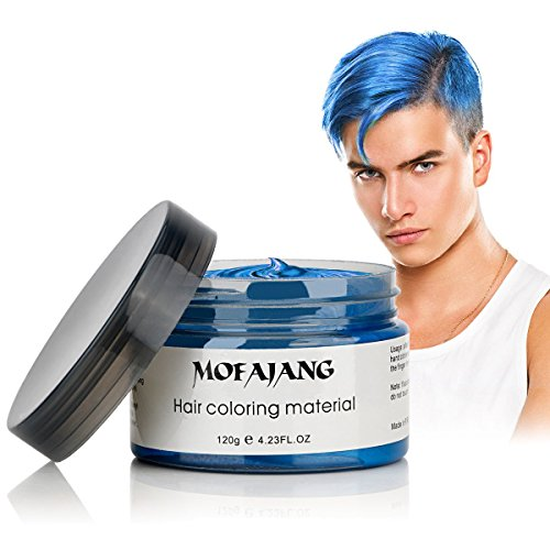 MOFAJANG Hair Coloring Wax, Blue Temporary Hairstyle Cream, Natural Hairstyle Color Pomade, Washable Hair Dye Styling Wax Cream -