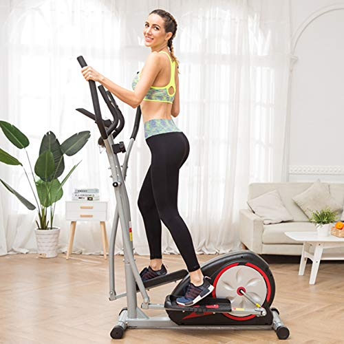 Aceshin Elliptical Machine Trainer Compact Life Fitness Exercise Equipment for Home Workout Offic Gym (Silver2) ()
