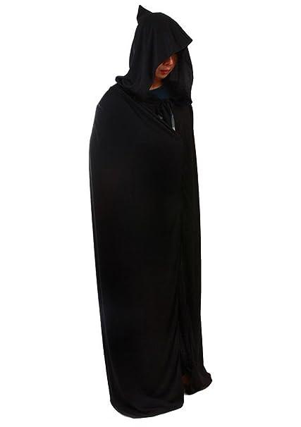 Adult Black Hooded Cloak Cape Long Vampire Halloween Fancy Costume Dress Deluxe