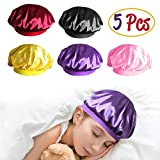 R HORSE 5 Packs Kids Satin Bonnet Sleeping Cap Silk Satin Wide Band Sleeping Hat for Natural Hair Kids Toddles Teens