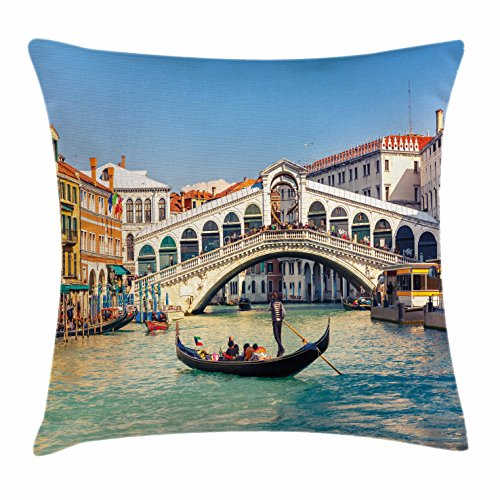 Ambesonne Venice Throw Pillow Cushion Cover, Cityscape on a Sunny Day with Rialto Bridge Venetian Grand Canal Travel Destination, Decorative Square Accent Pillow Case, 40 X 40 Inches, Multicolor (Venice Furniture Office Set)