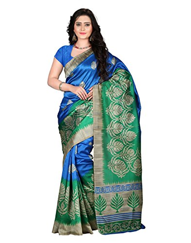 Jaanvi Fashion Women's Mysore Art Silk Blue & Green Printed Saree