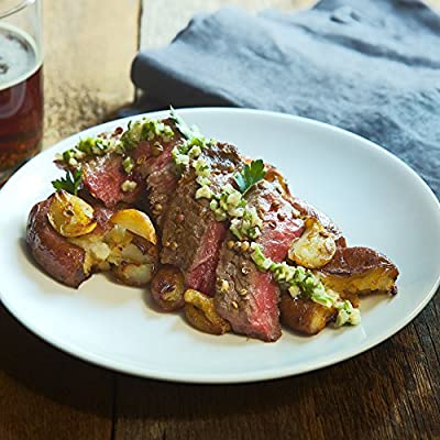 Coriander NY Strip with Smashed Garlic Potatoes by Chef'd Partner Rahm Fama