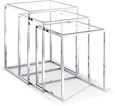 Amazon Com Whiteline Modern Living Occasional Terzi Side End Nesting Accent Table Silver Clear Furniture Decor