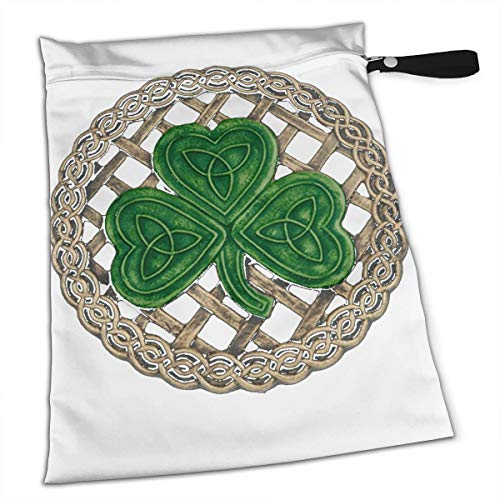 Shamrock Lattice and Celtic Knots On Black Tote Travel Accessories Size Happens Reusable Laundry Beach Toddler Dry Bag for Workout Swim Wet Kid Baby Gym Clothes Cloth Diaper ()