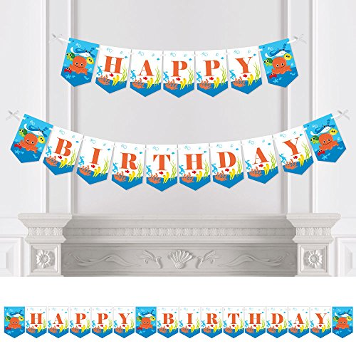 Big Dot of Happiness Under The Sea Critters - Birthday Party Bunting Banner - Party Decorations - Happy Birthday ()