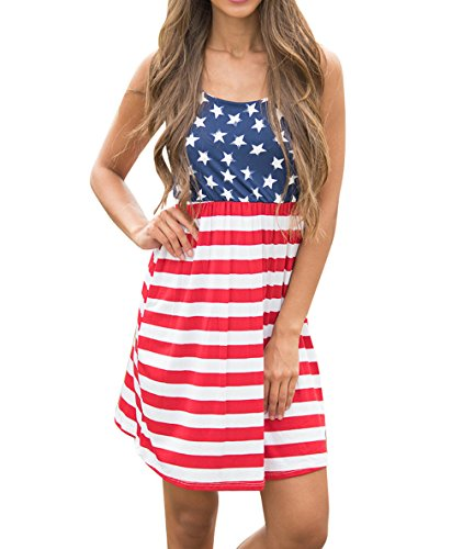 Wollsolo-Womens-Sleeveless-USA-Flag-Star-Strip-Print-Racerback-Mini-Tank-Dress
