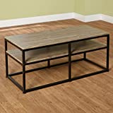 Wood and Metal Coffee Table Target Marketing Systems Piazza Collection Modern Reclaimed Sleek Coffee Table, With Open Shelves, Wood/Metal