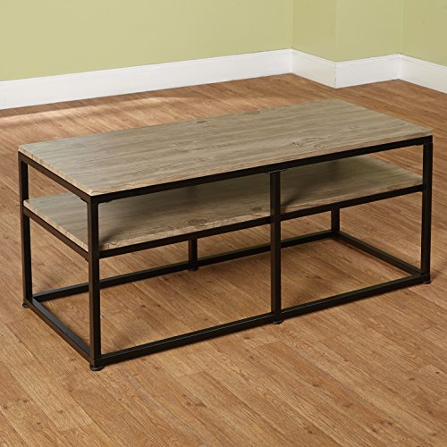 Target Marketing Systems Piazza Collection Modern Reclaimed Sleek Coffee  Table, With Open Shelves, Wood/Metal
