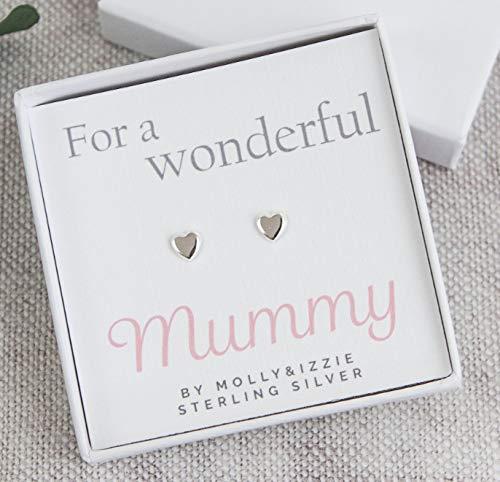 Pendientes de plata de ley con diseño de corazón para mamá ...